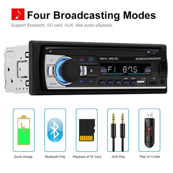 Bluetooth Car Stereo Radio 1 Din Handsfree In Dash 12v Fm Sdusb Aux Head Unit (10)