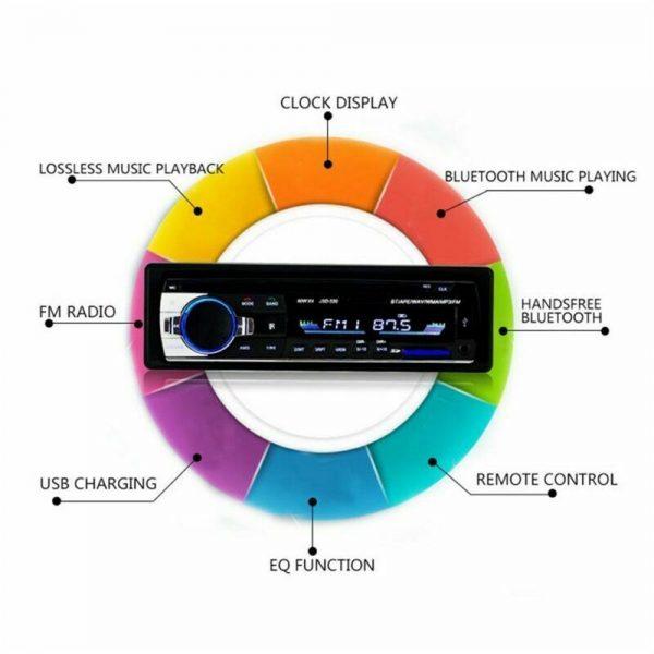 Bluetooth Car Stereo Radio 1 Din Handsfree In Dash 12v Fm Sdusb Aux Head Unit (12)