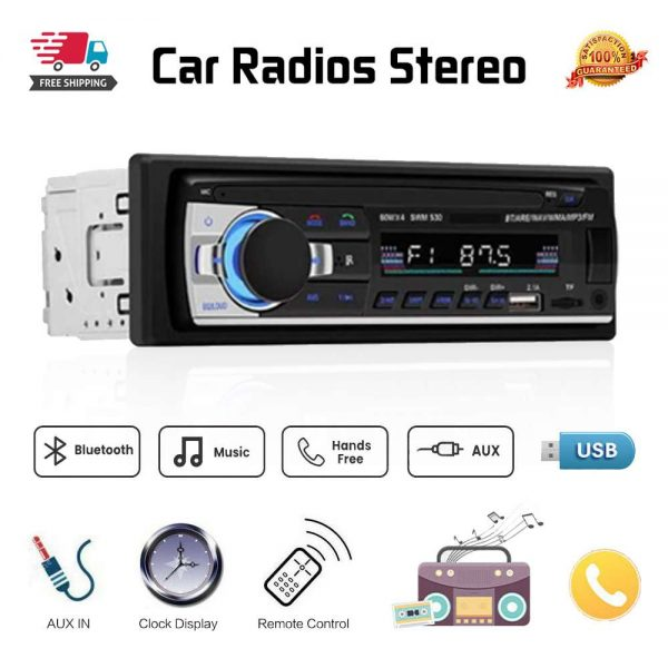 Bluetooth Car Stereo Radio 1 Din Handsfree In Dash 12v Fm Sdusb Aux Head Unit (2)