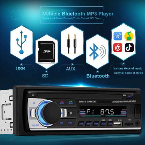 Bluetooth Car Stereo Radio 1 Din Handsfree In Dash 12v Fm Sdusb Aux Head Unit (3)