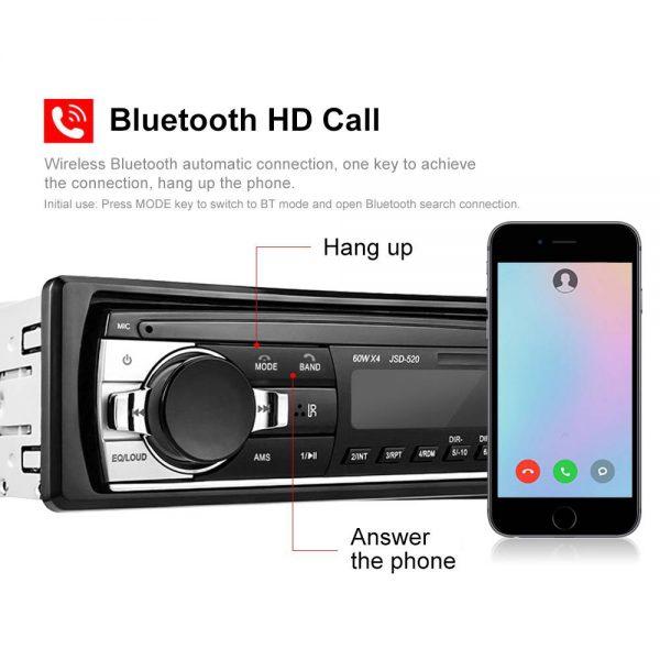 Bluetooth Car Stereo Radio 1 Din Handsfree In Dash 12v Fm Sdusb Aux Head Unit (4)