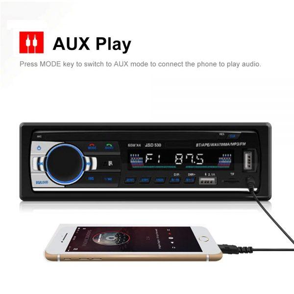 Bluetooth Car Stereo Radio 1 Din Handsfree In Dash 12v Fm Sdusb Aux Head Unit (5)