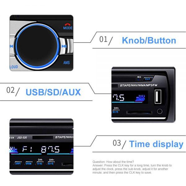 Bluetooth Car Stereo Radio 1 Din Handsfree In Dash 12v Fm Sdusb Aux Head Unit (6)