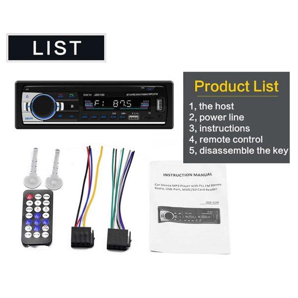 Bluetooth Car Stereo Radio 1 Din Handsfree In Dash 12v Fm Sdusb Aux Head Unit (8)
