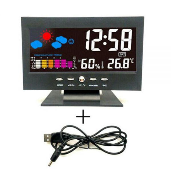 Desk Digital Alarm Clock Weather Thermometer Led Temperature Humidity Monitor (1)