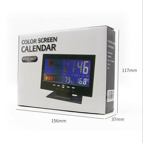 Desk Digital Alarm Clock Weather Thermometer Led Temperature Humidity Monitor (11)