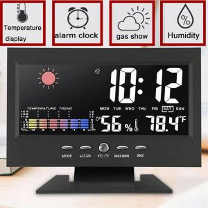 Desk Digital Alarm Clock Weather Thermometer Led Temperature Humidity Monitor (7)