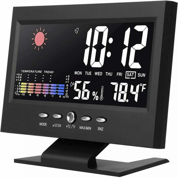Desk Digital Alarm Clock Weather Thermometer Led Temperature Humidity Monitor (8)