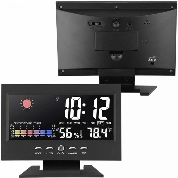 Desk Digital Alarm Clock Weather Thermometer Led Temperature Humidity Monitor (9)