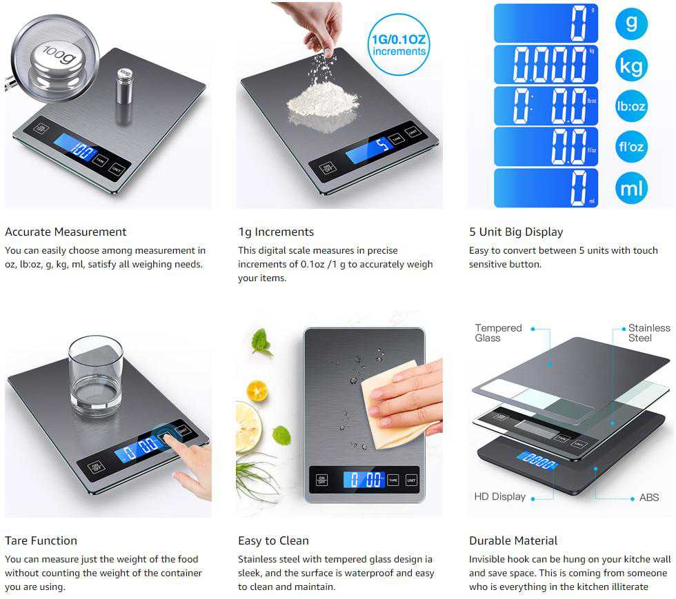 Digital Lcd 1g 10kg Kitchen Electronic Balance Scale Food Weight Steel Scales (15)