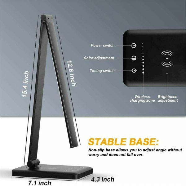 Dimmable Led Desk Lamp Touch With Usb Charging Port 5 Brightness Levels Reading (2)