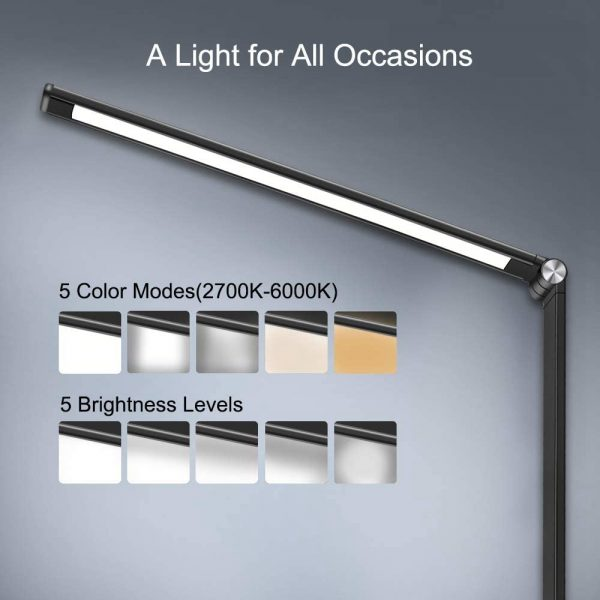 Dimmable Led Desk Lamp Touch With Usb Charging Port 5 Brightness Levels Reading (5)