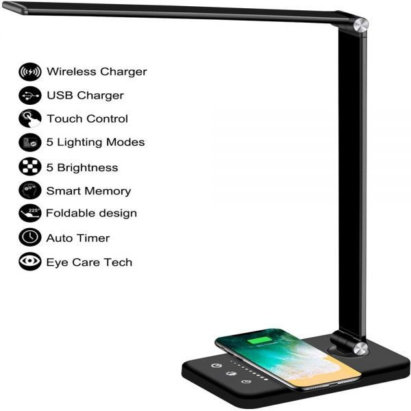 Dimmable Led Desk Lamp Touch With Usb Charging Port 5 Brightness Levels Reading (6)
