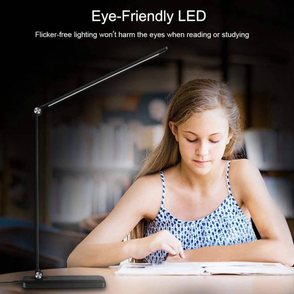 Dimmable Led Desk Lamp Touch With Usb Charging Port 5 Brightness Levels Reading (7)