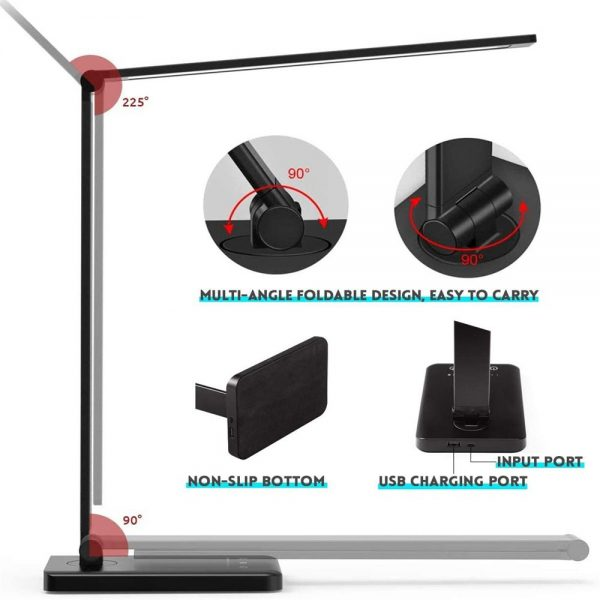 Dimmable Led Desk Lamp Touch With Usb Charging Port 5 Brightness Levels Reading (8)