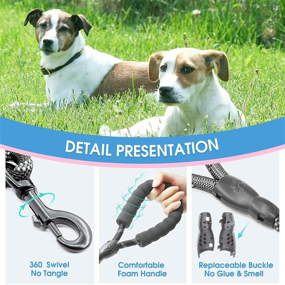 Dog Lead Rope Leash Large Leads Nylon Padded Soft Walking Reflective Braided5ft (11)