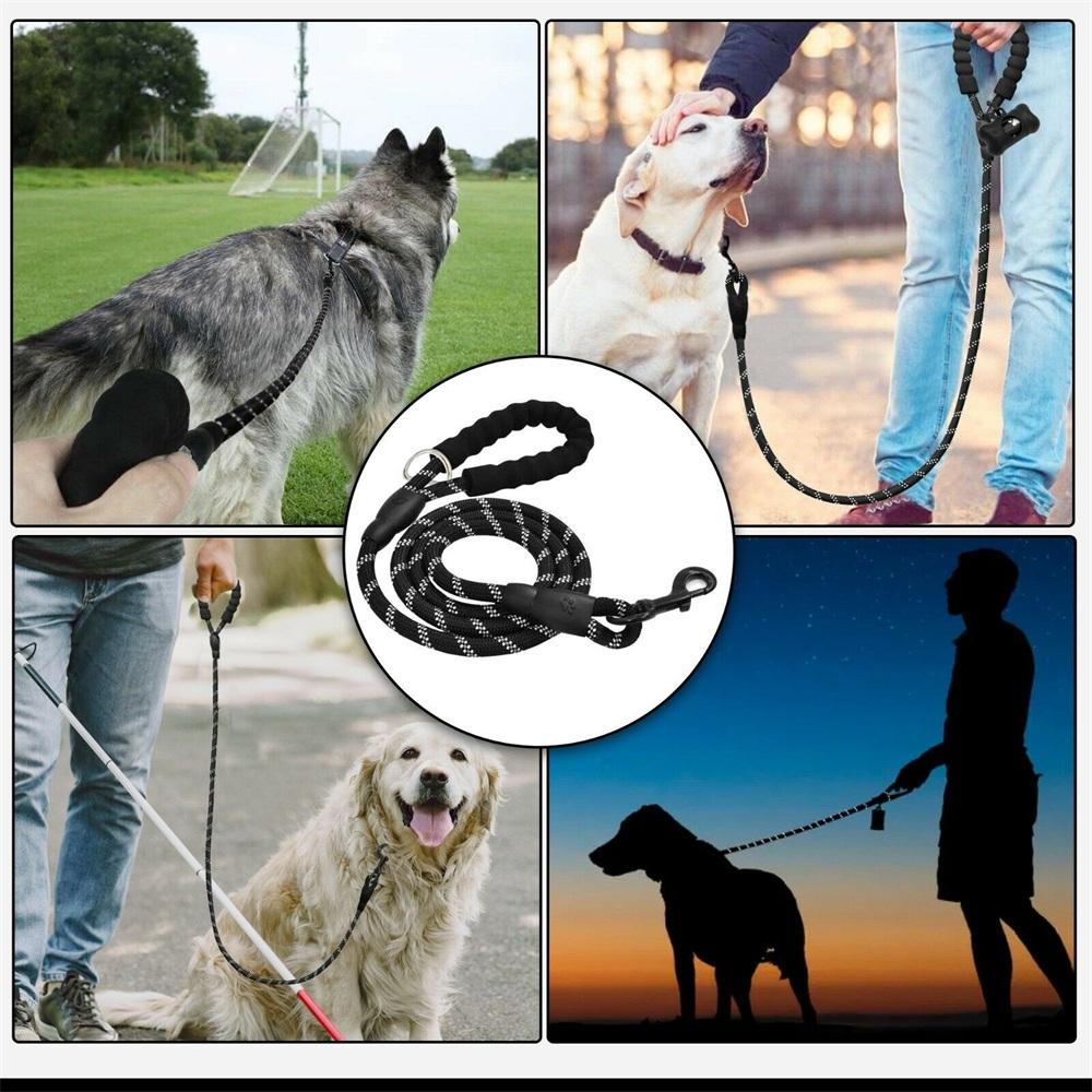 Dog Lead Rope Leash Large Leads Nylon Padded Soft Walking Reflective Braided5ft (14)