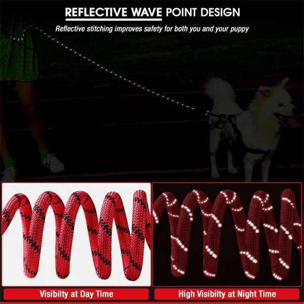 Dog Lead Rope Leash Large Leads Nylon Padded Soft Walking Reflective Braided5ft (4)