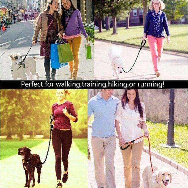Dog Lead Rope Leash Large Leads Nylon Padded Soft Walking Reflective Braided5ft (8)