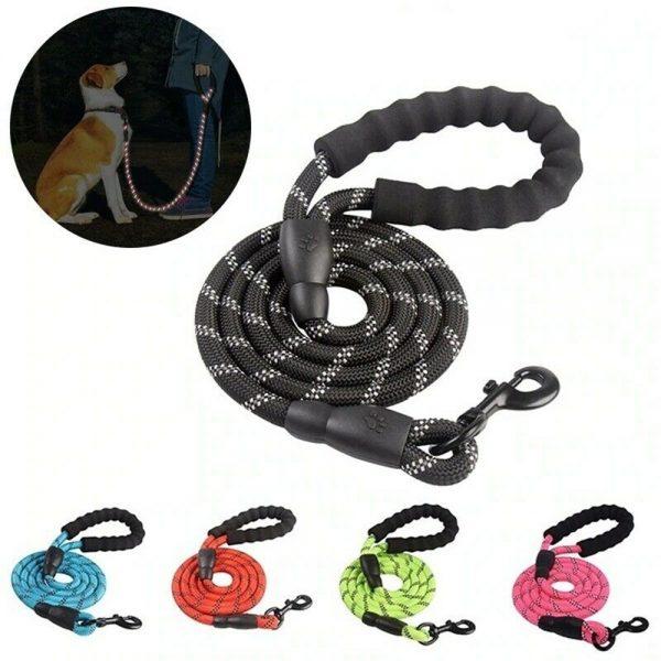 Dog Lead Rope Leash Large Leads Nylon Padded Soft Walking Reflective Braided5ft (9)