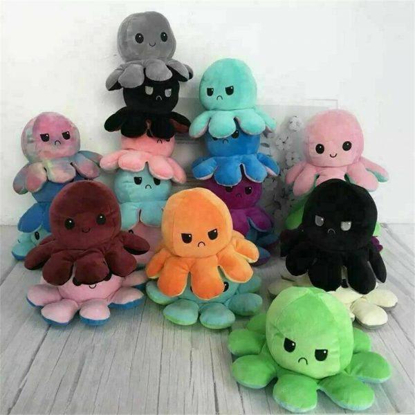 Double Sided Octopus Flip Reversible Marine Life Animals Doll Octopus Plush Toy (2)