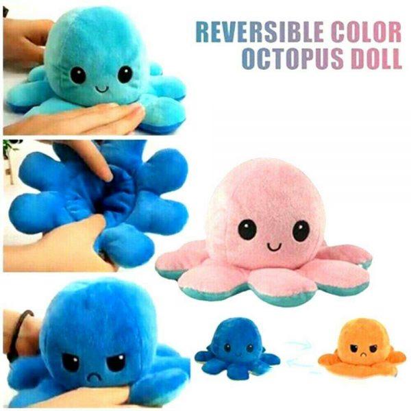 Double Sided Octopus Flip Reversible Marine Life Animals Doll Octopus Plush Toy (3)