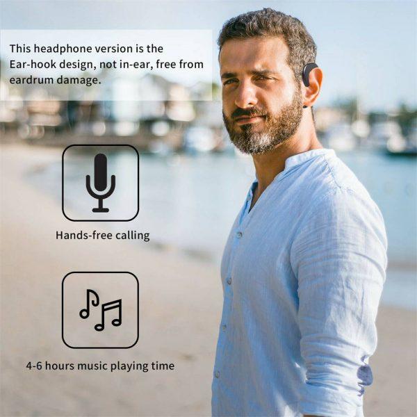 Ear Bluetooth Bone Conduction Headphones Stereo Wireless Earphone Headset+mic (8)