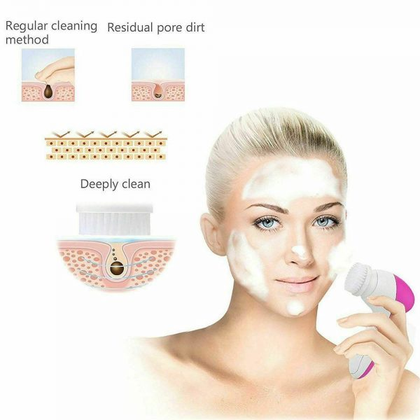 Electric Facial Face Spa Cleansing Brush Beauty Cleanser Exfoliator C7 5 In1 (5)