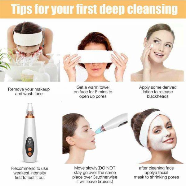 Electric Facial Skin Care Pore Blackhead Remover Cleaner Vacuum Acne Cleanser (8)