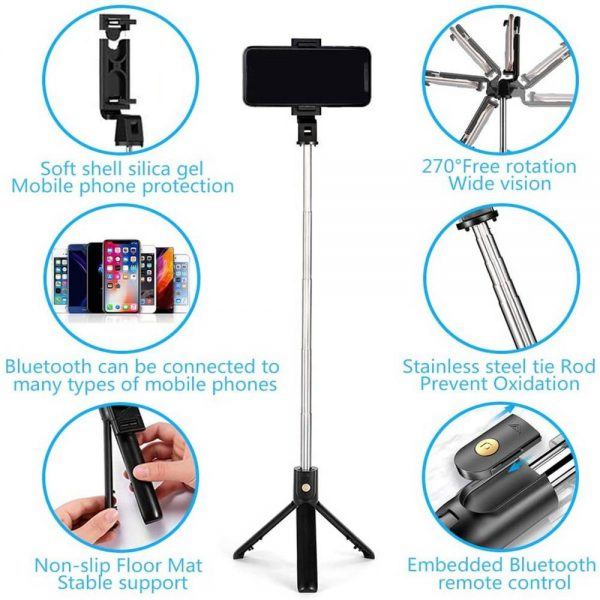 Extendable Selfie Stick Tripod For Any Cell Bluetooth Remote Free Shipping Uk (11)