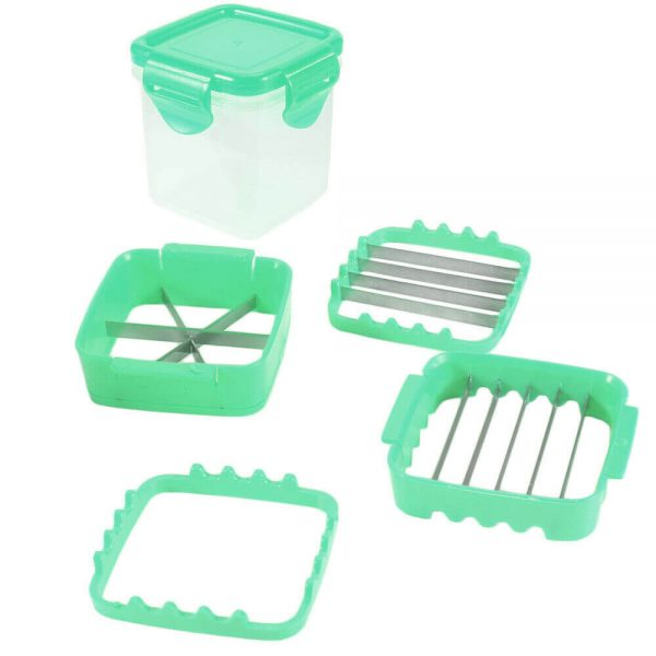 Food Chopper 5 In 1 Onion Fruit Vegetable Cutter Dicer Stainless Steel Blades Container (1)