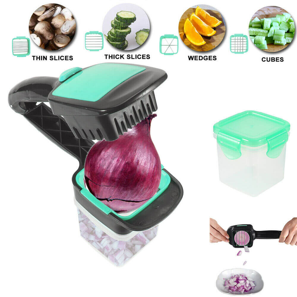 Food Chopper 5 In 1 Onion Fruit Vegetable Cutter Dicer Stainless Steel Blades Container (11)