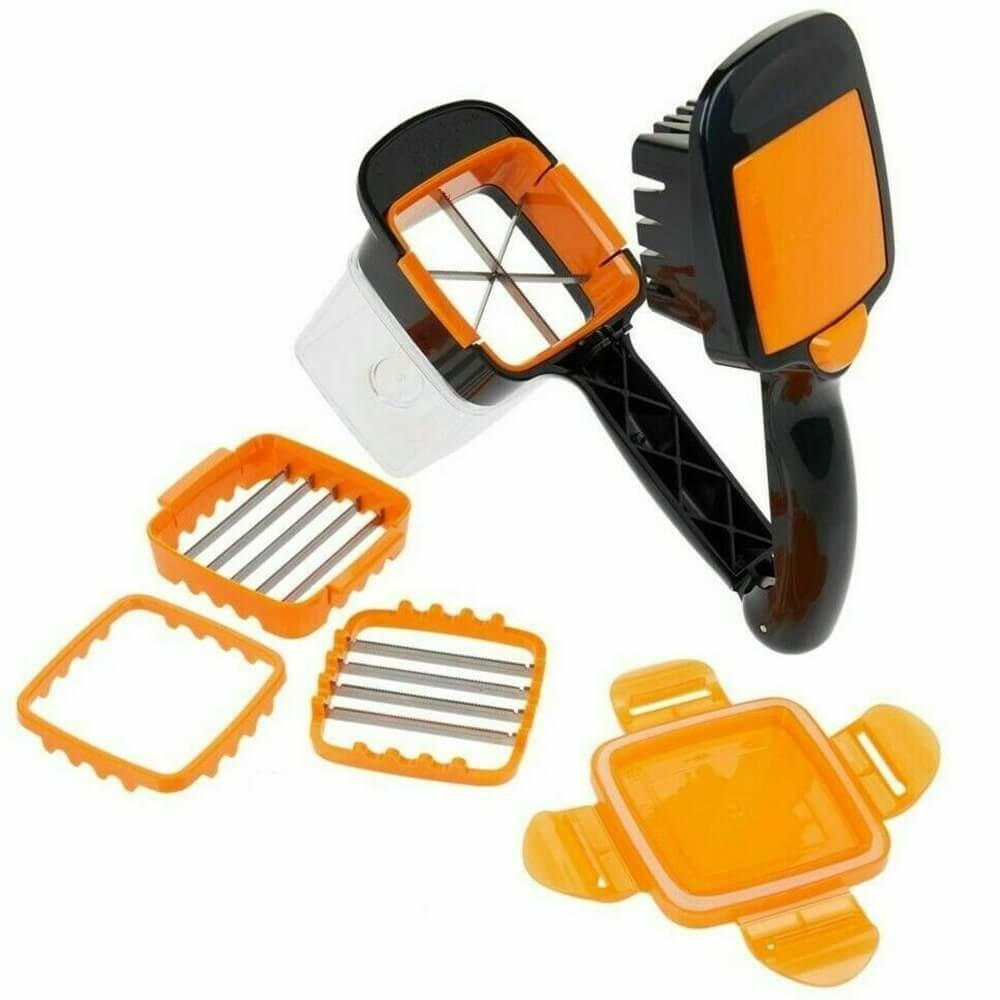 Food Chopper 5 In 1 Onion Fruit Vegetable Cutter Dicer Stainless Steel Blades Container (5)
