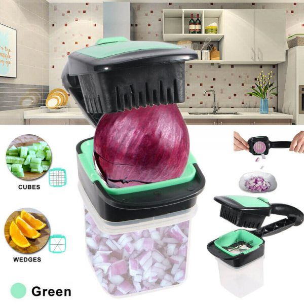 Food Chopper 5 In 1 Onion Fruit Vegetable Cutter Dicer Stainless Steel Blades Container (8)