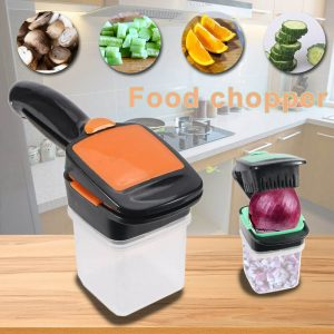 Food Chopper 5 In 1 Onion Fruit Vegetable Cutter Dicer Stainless Steel Blades Container (9)