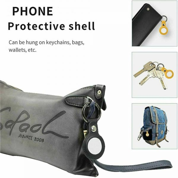 For Apple Airtag Leather Loop Holder Keyring Carry Case Air Tag Tracker Air Tag (10)