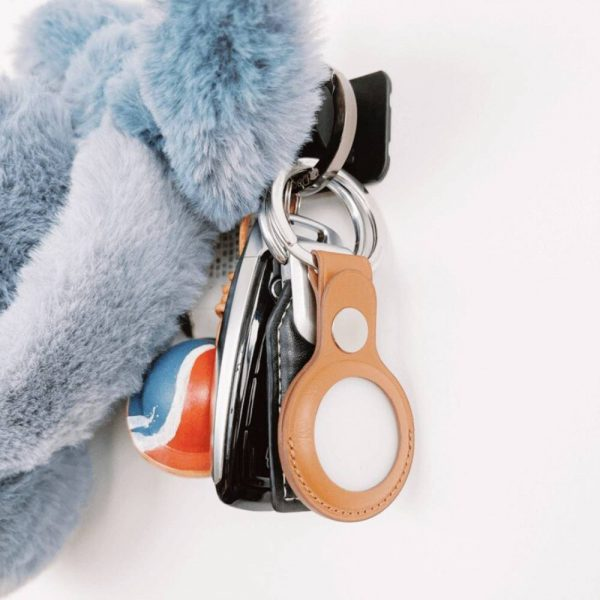 For Apple Airtag Leather Loop Holder Keyring Carry Case Air Tag Tracker Air Tag (2)