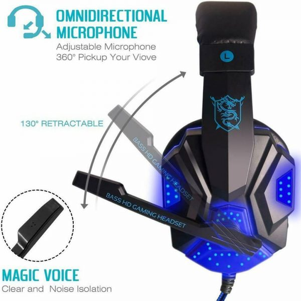Gaming Headset Mic Led 3.5mm Headphones Stereo Surround Ps5 Ps4 Xbox One Ipad Uk (10)