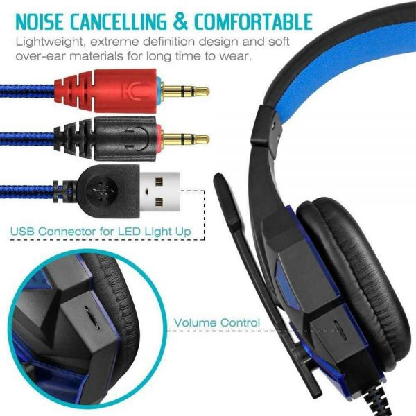 Gaming Headset Mic Led 3.5mm Headphones Stereo Surround Ps5 Ps4 Xbox One Ipad Uk (11)