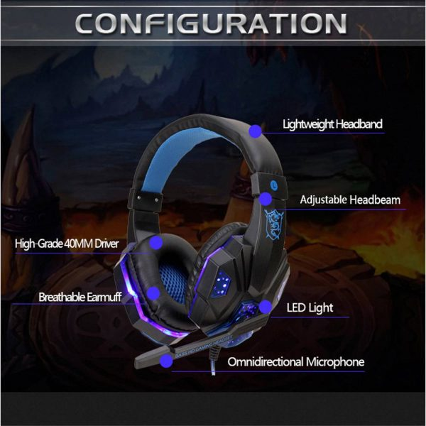 Gaming Headset Mic Led 3.5mm Headphones Stereo Surround Ps5 Ps4 Xbox One Ipad Uk (4)