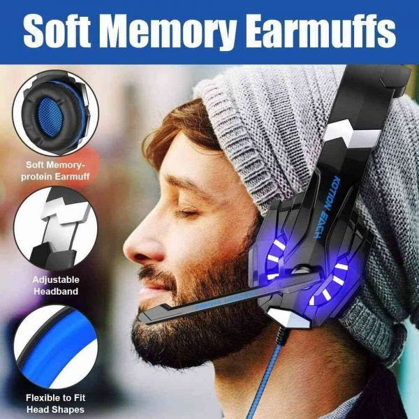 Gaming Headset Mic Led 3.5mm Headphones Stereo Surround Ps5 Ps4 Xbox One Ipad Uk (6)