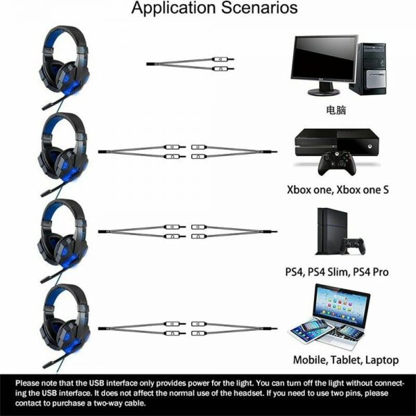 Gaming Headset Mic Led 3.5mm Headphones Stereo Surround Ps5 Ps4 Xbox One Ipad Uk (8)