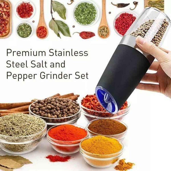 Gravity Electric Salt Or Pepper Mill Shaker Grinder Adjustable Battery Operated (1)