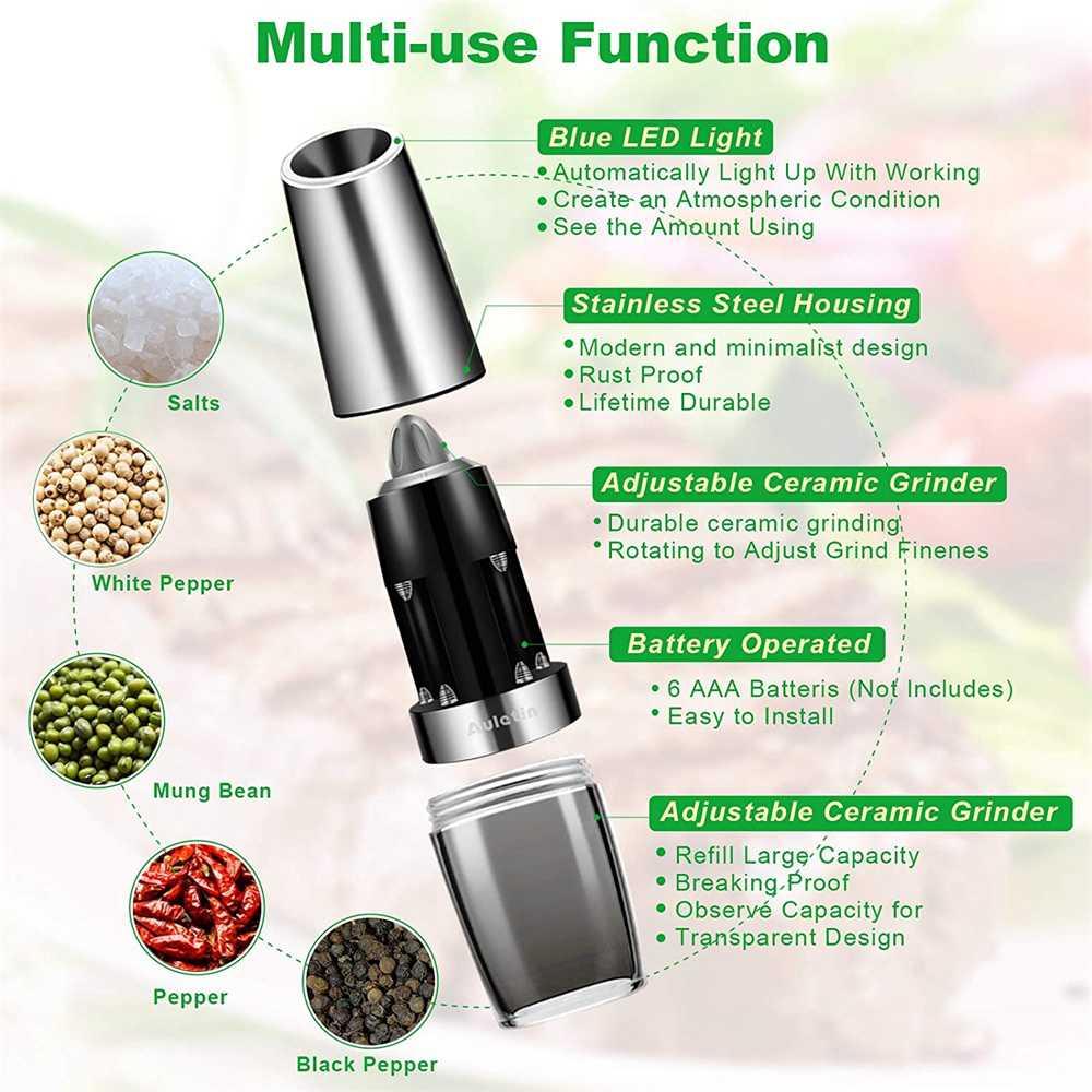 Gravity Electric Salt Or Pepper Mill Shaker Grinder Adjustable Battery Operated (13)