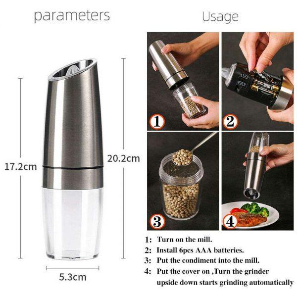Gravity Electric Salt Or Pepper Mill Shaker Grinder Adjustable Battery Operated (3)