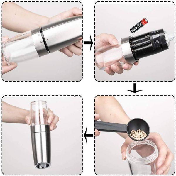 Gravity Electric Salt Or Pepper Mill Shaker Grinder Adjustable Battery Operated (5)