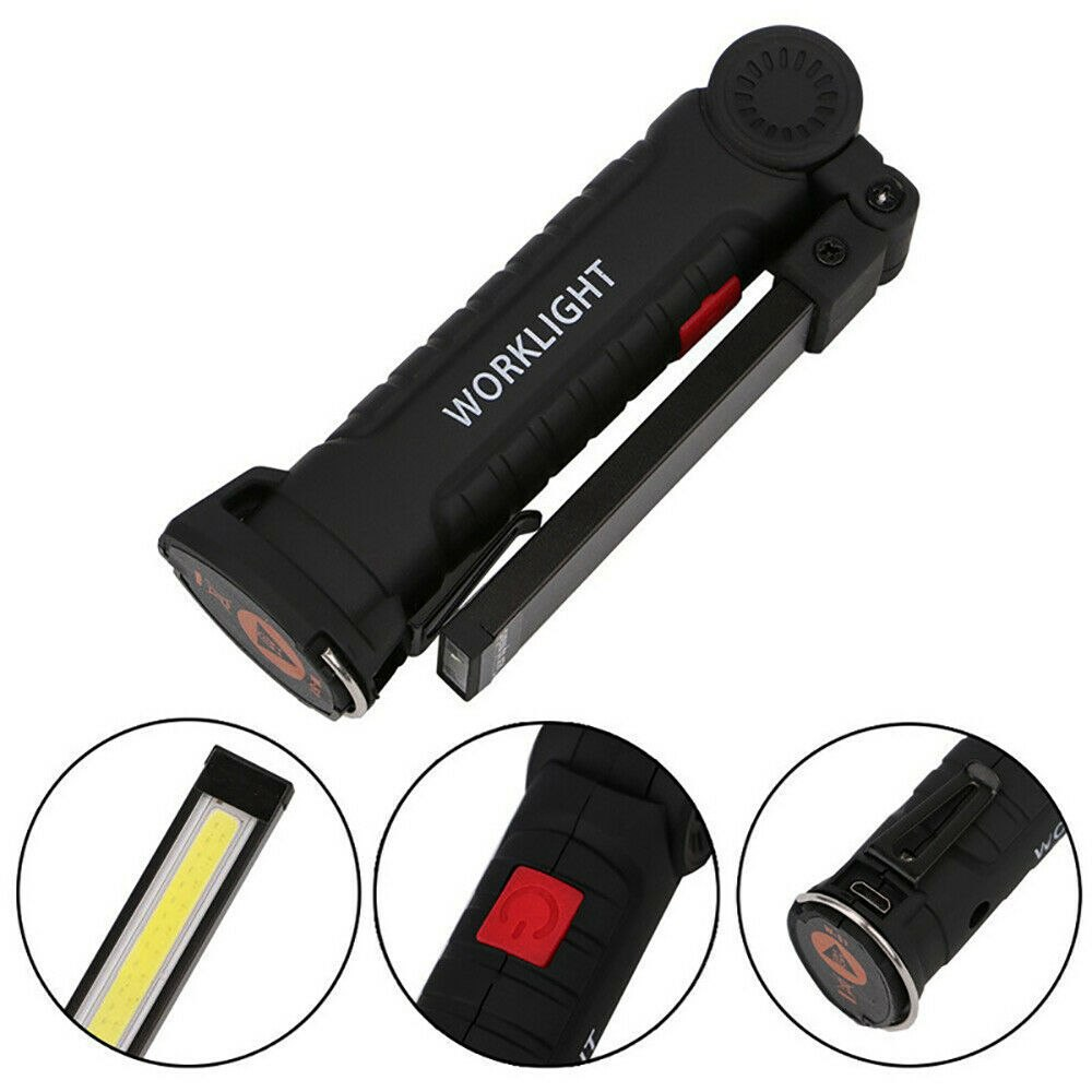 Led Cob Rechargeable Work Light Magnetic Torch Flexible Inspection Lamp Cordless (13)