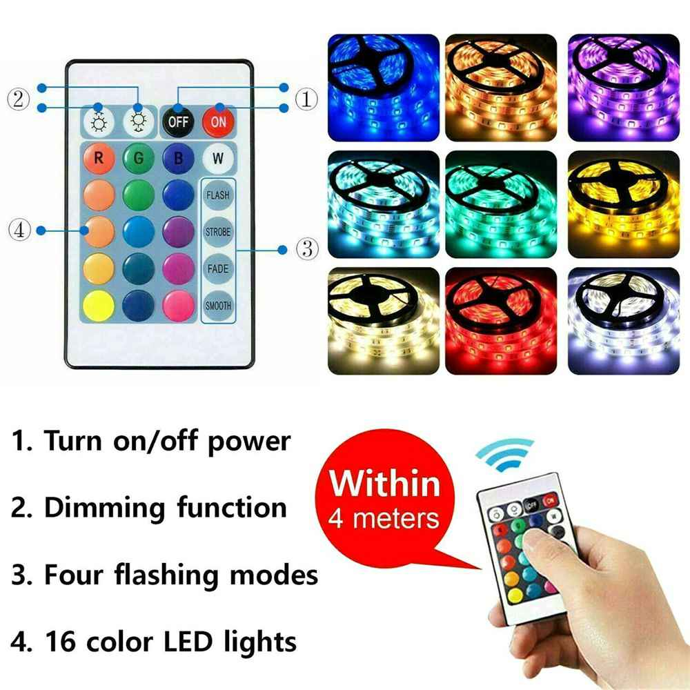 Led Strip Lights 5050 Rgb Colour Changing Tape Under Cabinet Kitchen Tv Usb (12)