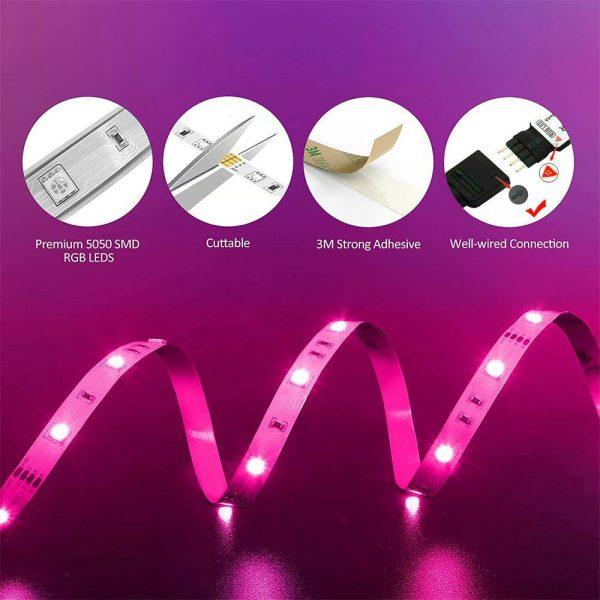 Led Strip Lights 5050 Rgb Colour Changing Tape Under Cabinet Kitchen Tv Usb (4)