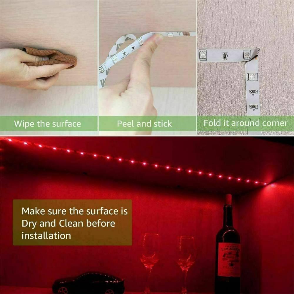 Led Strip Lights 5050 Rgb Colour Changing Tape Under Cabinet Kitchen Tv Usb (5)